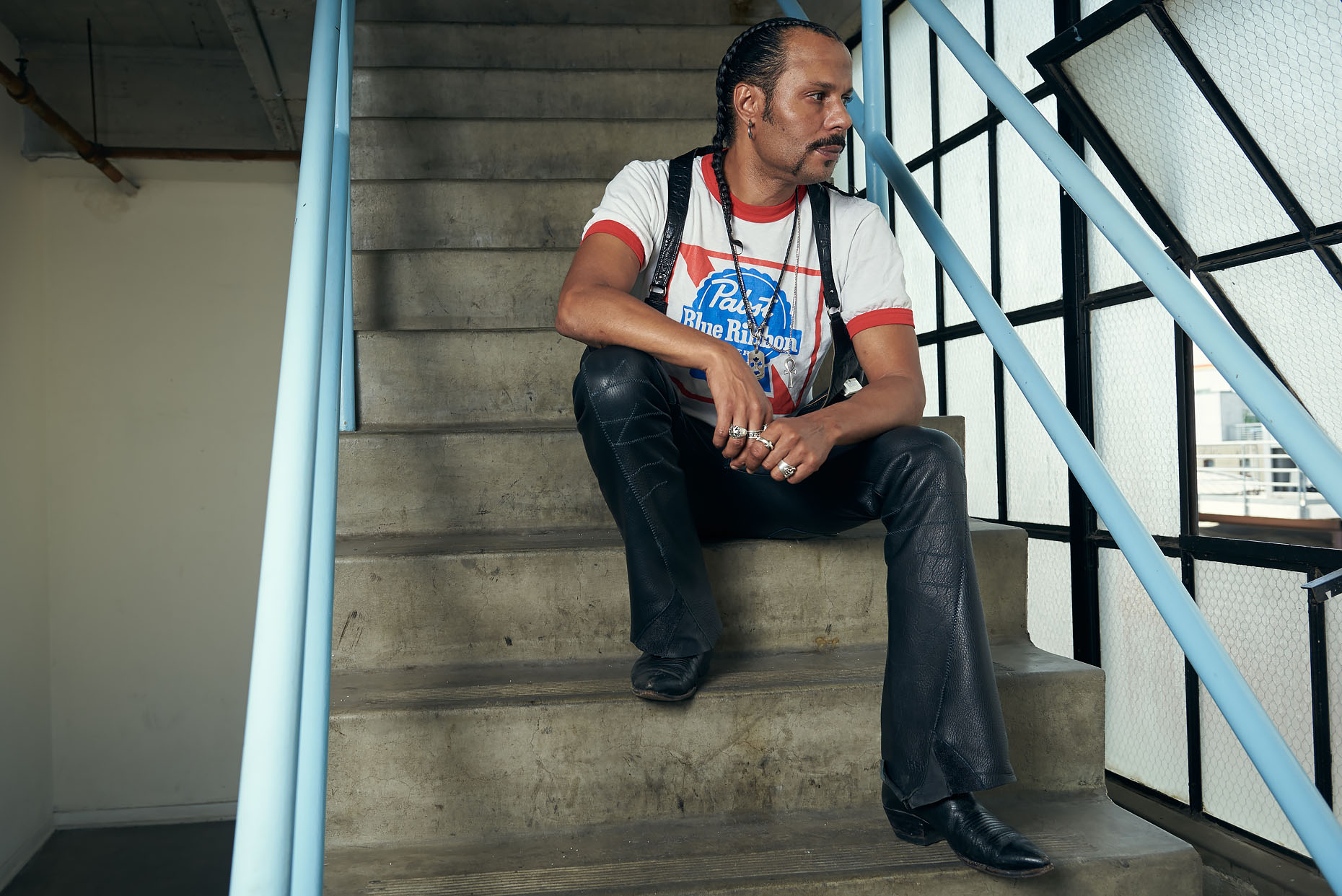 Actor Erick Nathan in a stairwell in Los Angeles